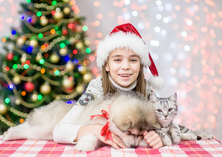 Happy little girl in red santa hat embracing puppy and kitten on a background of the Christmas tree.