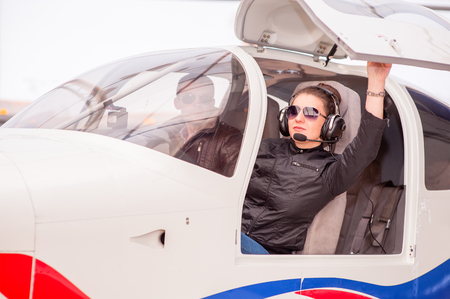 Female pilot of a light aircraft. Stockfoto