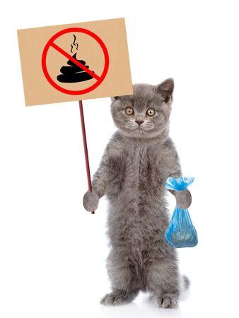 Kitten holds plastic bag and sign