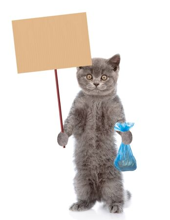 Kitten holds plastic bag and placard. Concept cleaning up dog droppings. isolated on white background.