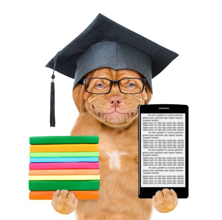 Graduated dog with eyeglasses holding stack books and smartphone. isolated on white background. Stok Fotoğraf