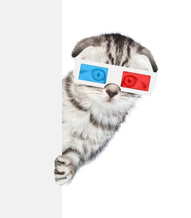 Surprised kitten in the 3d glasses behind white banner. isolated on white background.