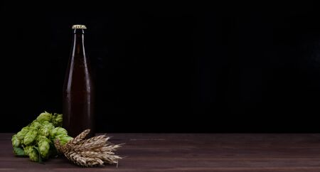 Home brewing concept. Bottle of a craft beer with fresh green of hops and wheat on dark wooden table. Empty space for text. Black background.