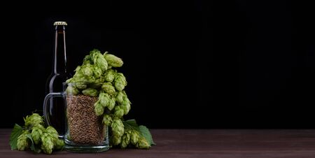 Bottle of a craft beer and mug with malt and fresh green of hops like a foam on dark wooden table. Black background.