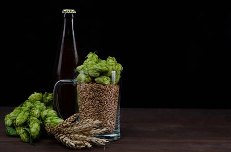 Bottle of a craft beer and mug with malt and fresh green of hops like a foam on dark wooden table. Black background. Empty space for text. 版權商用圖片 - 147889594