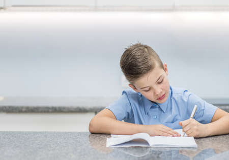 Young boy doing homework at home. Empty space for text. Imagens - 155155360