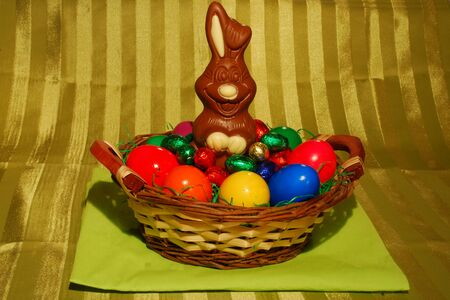 Chocolate Easter bunny in the nest