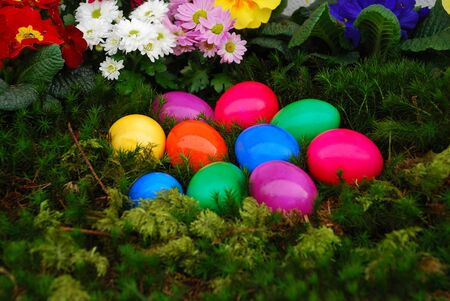 Easter basket on moss