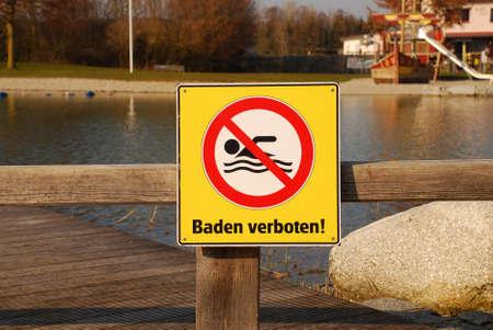 Warning sign no swimming Standard-Bild