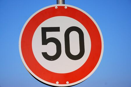 tempo: Road sign with Tempo 50