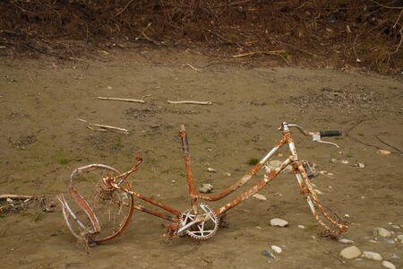 Rusted bike on the shore Standard-Bild