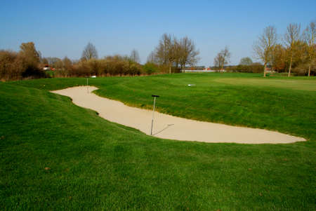 Sand bunkers on golf course
