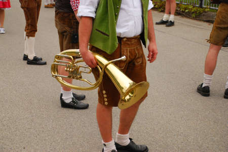 musik: Marching band with costume in Bavaria with Instrument Stock Photo
