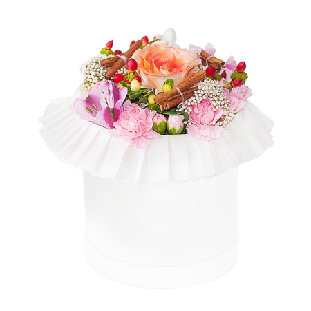 Bouquet of mixed flowers in the box isolated on white background Stock Photo