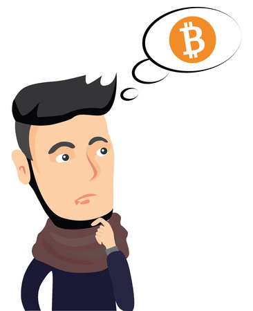 Cryptocurrency concept cartoon vector illustration. Need to buy virtual currency Bitcoin! Idea to buy bitcoin.Thinking hipster isolated on white background thought about bitcoins.