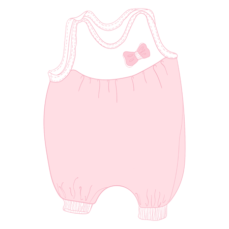 Cute Fashion baby Pink sliders with patches on the elastic band. Handwriting sketch illustration.