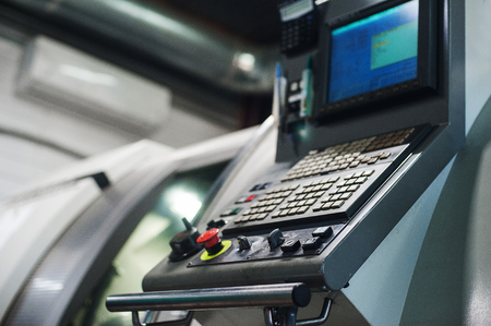 Machine control panel CNC. Metalworking  milling machine. Cutting metal modern processing technology. Stock Photo