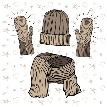 Vector illustration of a winter knitted items set: hat, scarf and mittensBrown coffee range Vectores