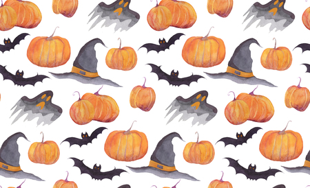 Halloween watercolor pattern with pumpkins, bats, funny ghosts and witch hut on white background. For wrapping paper, cards, posters, banners. Autumn holidays