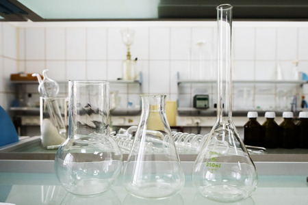 Empty flasks. Laboratory analysis equipment. Chemical laboratory, glassware test-tubes