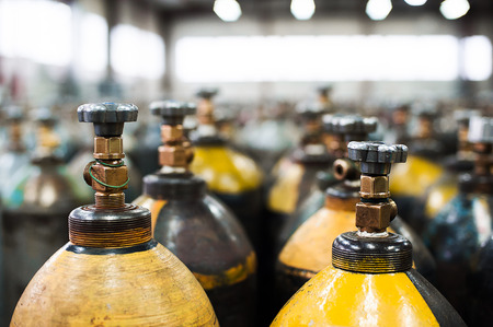 Cilinder with mixed gases. Tanks with compressed gas for industry. Liquefied oxygen production. Factory Reklamní fotografie