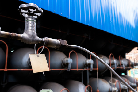 Helium high capacity gas cilinders. Tanks with compressed gas for industry. Liquefied oxygen production. Factory