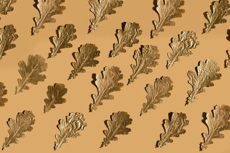 Autumn composition. Pattern made of autumn golden oak leaves on nude color background. Flat lay, top view, copy space
