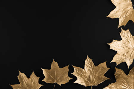 Autumn composition. Frame made of autumn golden maple leaves on black background. Flat lay, top view, copy space