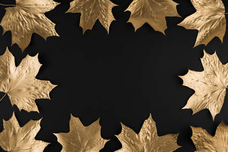 Autumn composition. Frame made of autumn golden maple leaves on black background. Flat lay, top view, copy space.