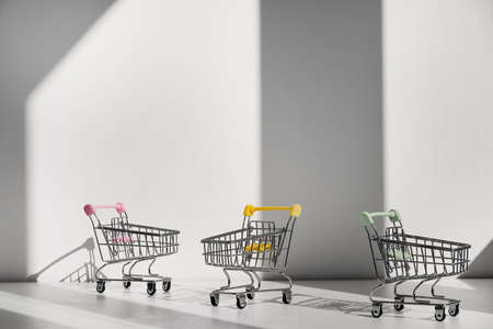 Shopping carts isolated on white background. Safe online shopping on quarantine concept. Empty supermarket shopping trolleys with copy space. Social distance concept
