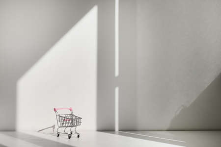 Shopping cart isolated on white background. Safe online shopping on quarantine concept. Empty supermarket shopping trolley with copy space 版權商用圖片