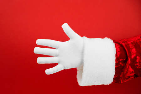 Hands Fingers Education Counting Set. Santa Hand in white glove gesturing one to five on red background. Counting number 5.