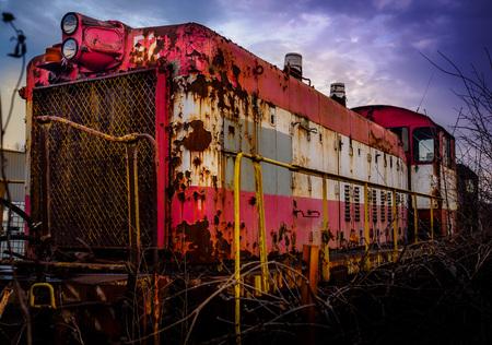 scrapyard: Old locomotives train Stock Photo