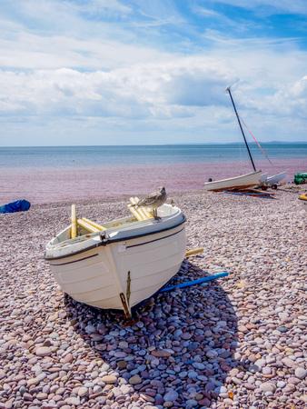 stoney: boat on the beach Stock Photo