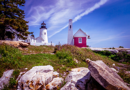 Pemaquid Point Lighthouse.  Commissioned by John Quincy Adams in 1827, this Maine lighthouse is located at the entrance to Muscongus Bay and Johns Bay. Editorial