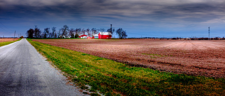 Typical midwest farm under the spring sunshine Stock Photo
