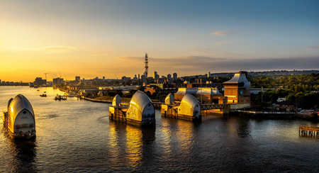 Thames tidal barrier at sunrise