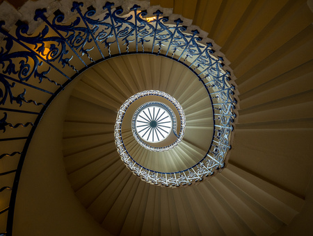 Elegant spiral staircase in Tudor-period house. The first centrally unsupported helical stairs constructed in England. Editorial