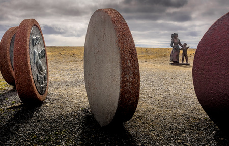 Sculptures at the Nordkapp designed by children from all continents. Stock Photo