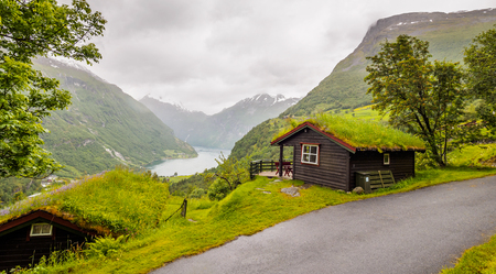 Local houses with sod roofs - Gerainger, Norway