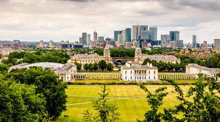 The view across London from the royal Observatory, Greenwoch, London.