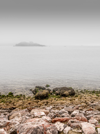 Drakes Island off Plymouth Hoe - with the fog swirling.
