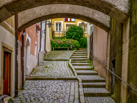 Sidestreet steps in Passau, Germany Stok Fotoğraf