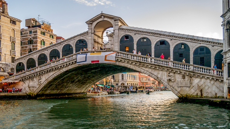 The Rialto Bridge is  the oldest bridge across the Grand Canal, and was the dividing line for the districts of San Marco and San Polo.