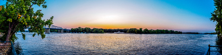 Sunset over the Mississippi River - La Crosse, Wisconsin Stock Photo