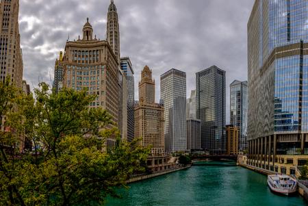 Chicago river and skyline from Michigan Avenue Bridge