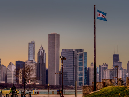 View of the Chicago Skyline from the Museum Campus - Lake Michigan shore. Stock Photo
