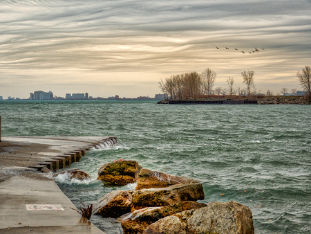 Winter approaches on the shores of Lake Michigan
