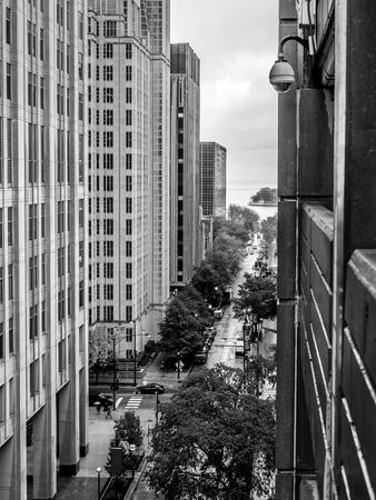 A rainy day in Chicago - view down Huron Street towards the Lake.