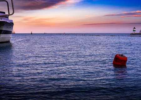 Sunset light over LAke Michigan - viewed from Navy Pier, Chicago Stock fotó